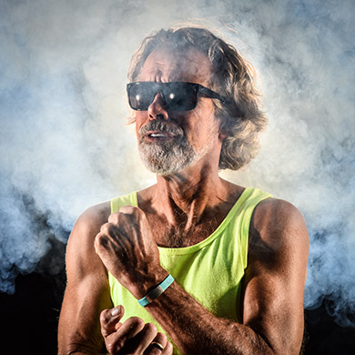 self portrait with smoke machine