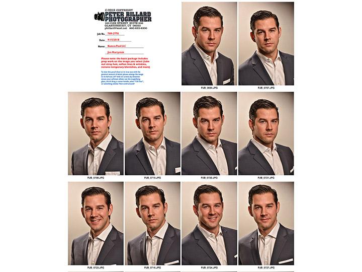 Proof sheet of handsome man