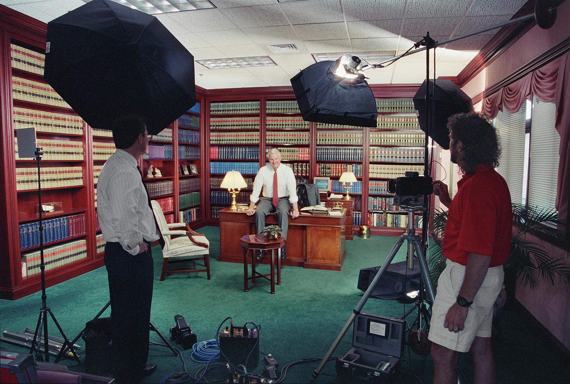 Behind the scenes location shot at attorney's office