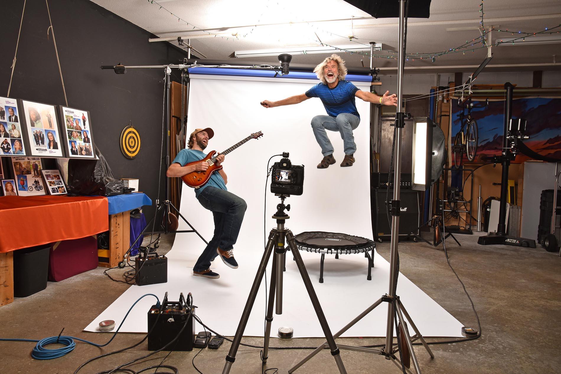 Studio behind the scenes guitar and trampoline