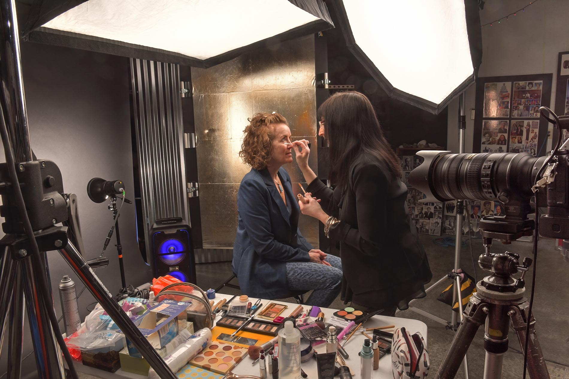 Behind the scenes makeup session in studio with Jacquelyn and Laura