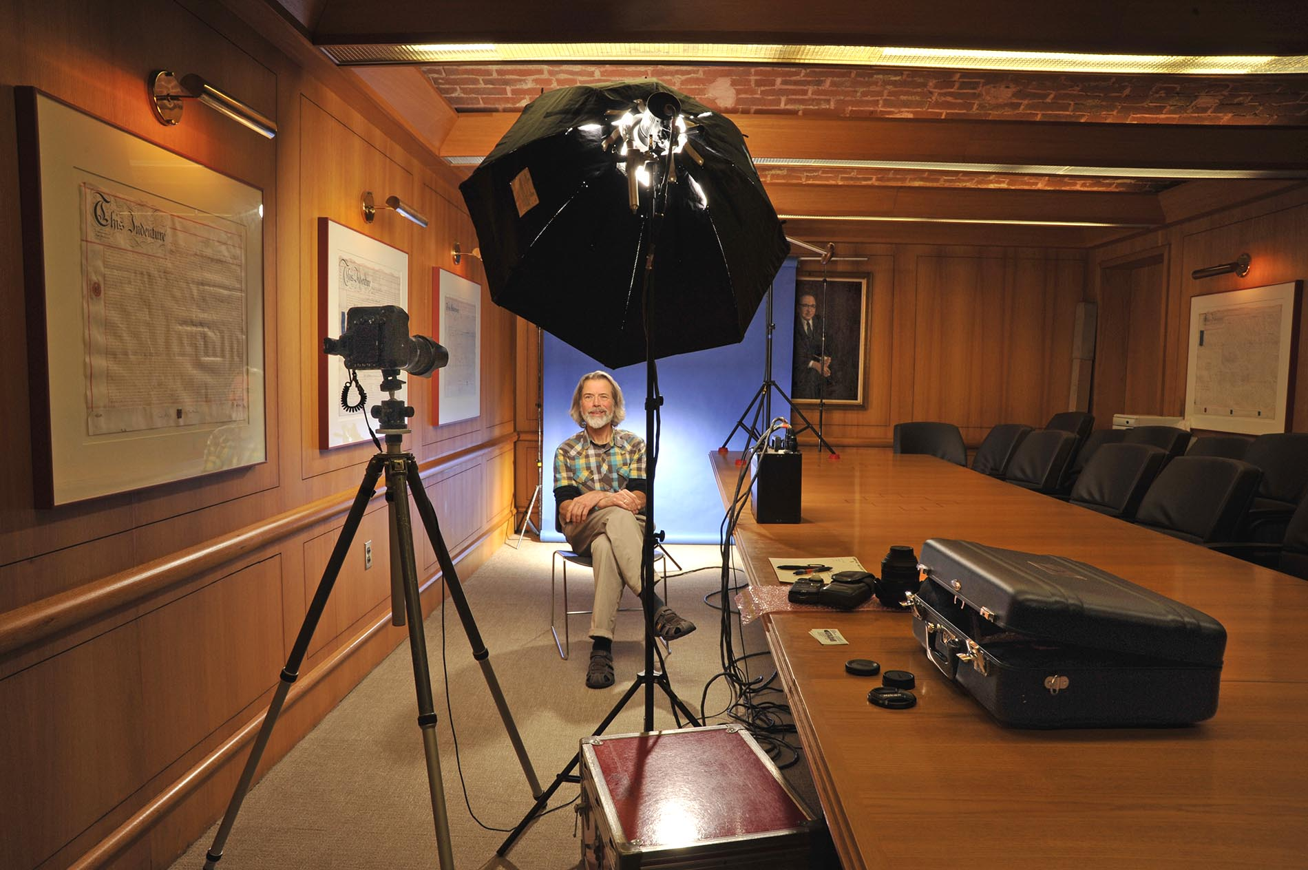 On location behind the scenes at client's boardroom
