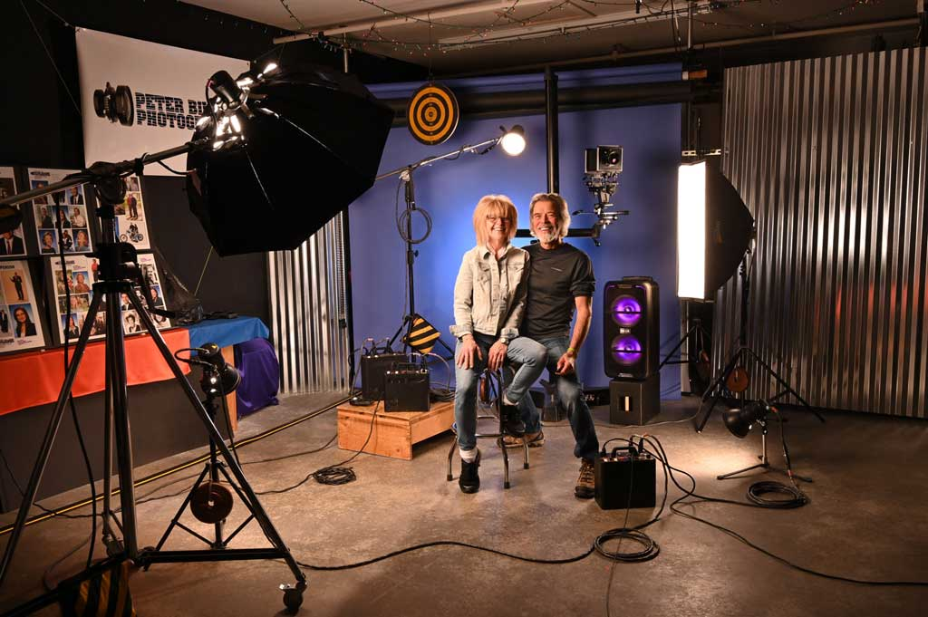 Nancy and Peter behind the scenes in his studio