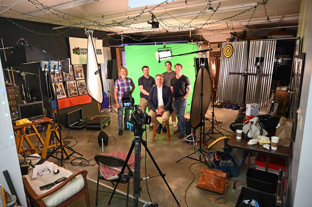 video crew and talent for interview recording